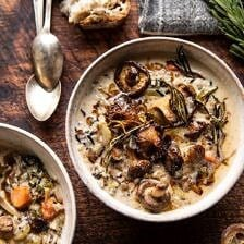 Creamy Wild Rice Chicken Soup with Roasted Mushrooms.