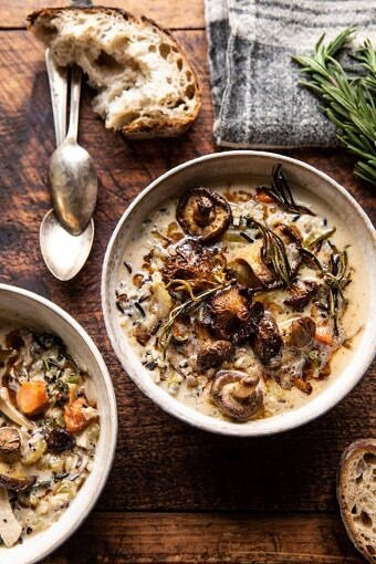 Creamy Wild Rice Chicken Soup with Roasted Mushrooms | halfbakedharvest.com #slowcooker #crockpot #instantpot #soup #wildrice