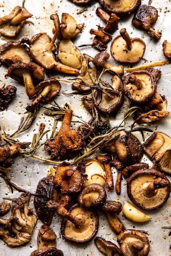 overhead photo of Roasted Mushrooms on baking sheet