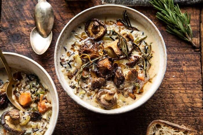 horizontal photo of Creamy Wild Rice Chicken Soup with Roasted Mushrooms