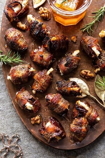 Goat Cheese Stuffed Bacon Wrapped Dates with Rosemary Honey.