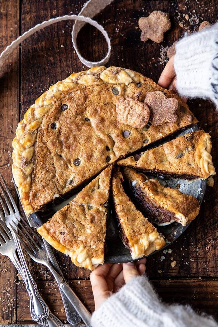 Gooey Chocolate Chip Cookie Pumpkin Pie | halfbakedharvest.com #cookiepie #thanksgiving #pumpkinpie