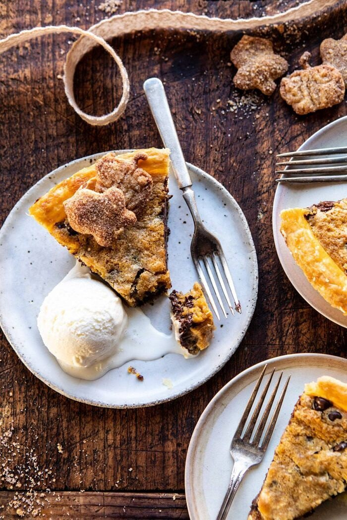 photo of Gooey Chocolate Chip Cookie Pumpkin Pie with ice cream on plate