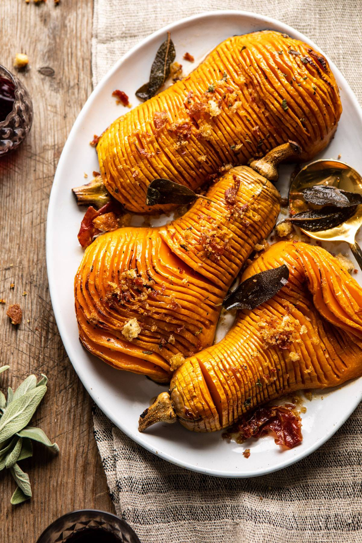 Hasselback Butternut Squash With Sage Butter And Prosciutto Breadcrumbs Half Baked Harvest