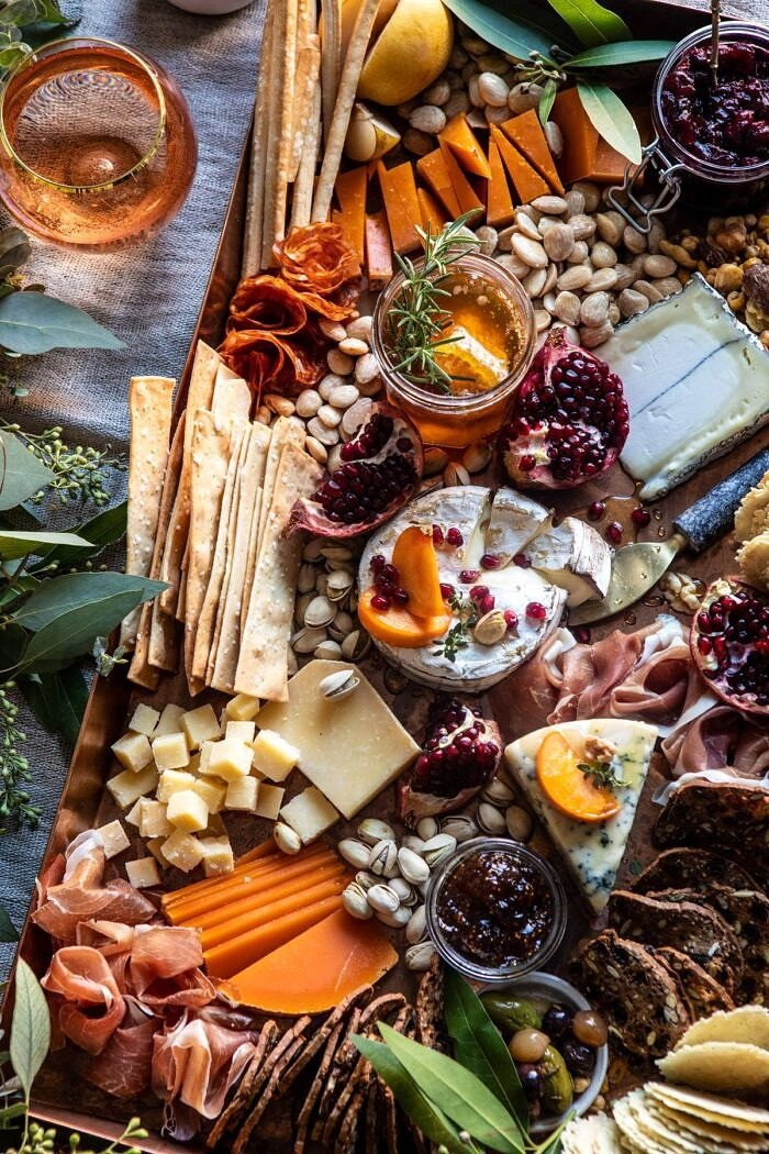 overhead close up photo of an Easy Holiday Cheese Board