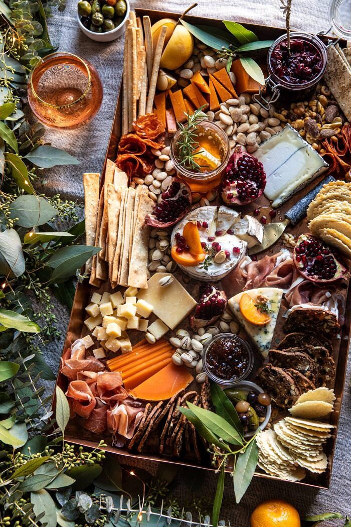 overhead close up photo of How to Make an Easy Holiday Cheese Board