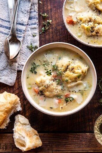 One Pot Creamy Turkey and Potato Dumplings | halfbakedharvest.com #turkey #dumplings #thanksgiving
