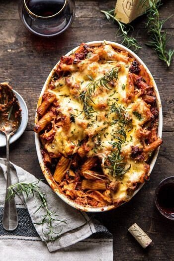 One Pot Spicy Pesto Cheese Baked Rigatoni | halfbakedharvest.com #pasta #pesto #holiday