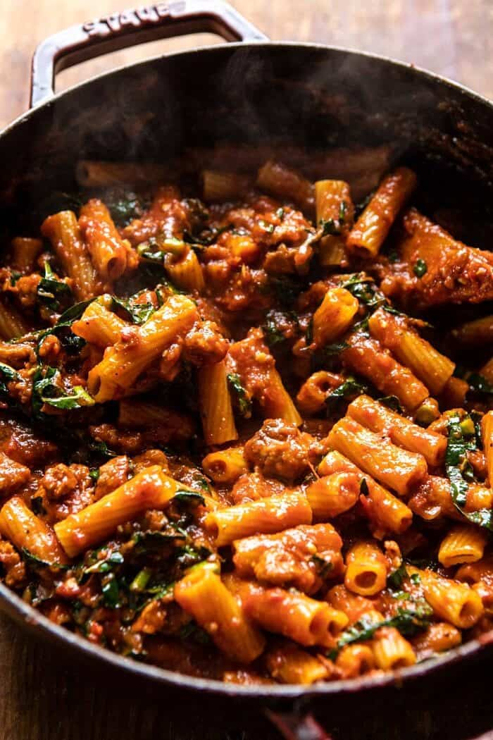 One Pot Spicy Pesto Cheese Rigatoni before baking in pot