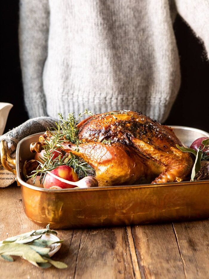 side angled photo of herb roasted turkey