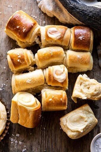 Salted Honey Butter Parker House Rolls | halfbakedharvest.com #rolls #thanksgiving #holidayrecipe