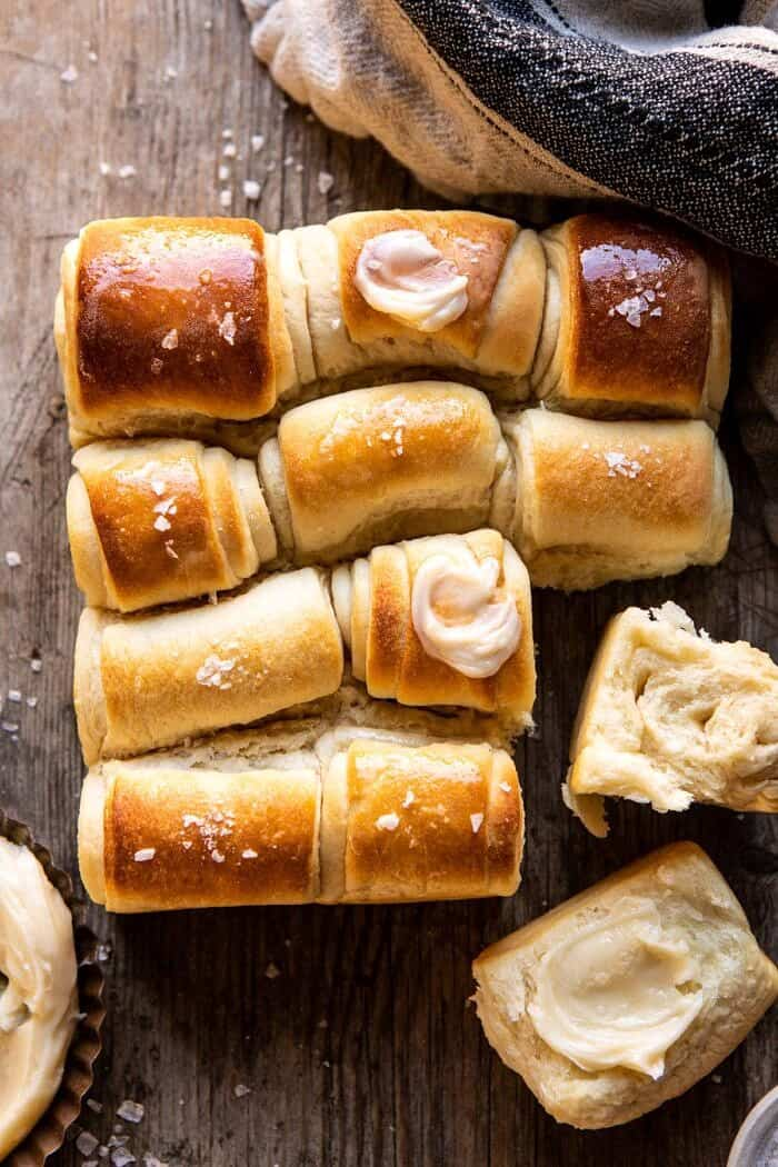 overhead photo of Salted Honey Butter Parker House Rolls