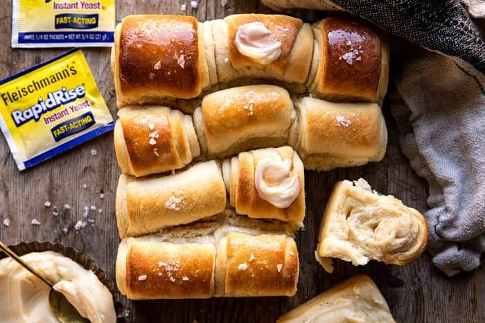 horizontal photo of Salted Honey Butter Parker House Rolls