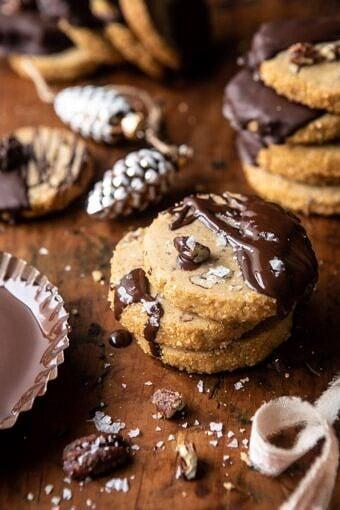 Slice n Bake Salted Chocolate Butter Pecan Cookies | halfbakedharvest.com #cookies #christmas #thanksgiving #chocolate