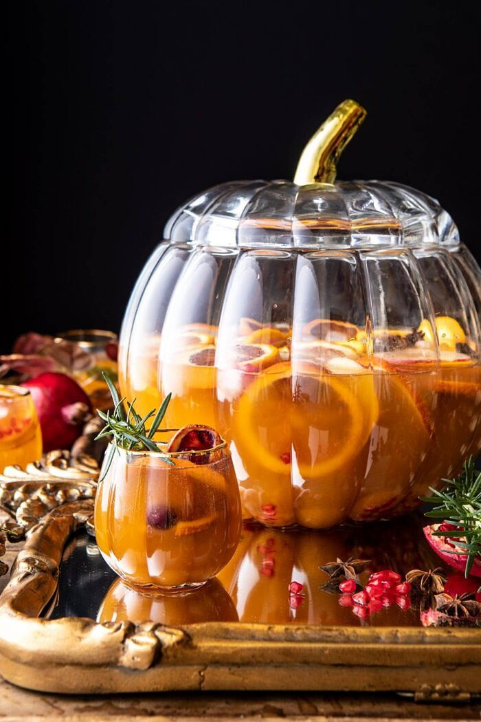 side angled photo of Thanksgiving Sangria | halfbakedharvest.com #thanksgiving #sangria #holiday