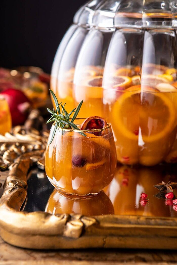 close up photo of Thanksgiving Sangria in pumpkin glass
