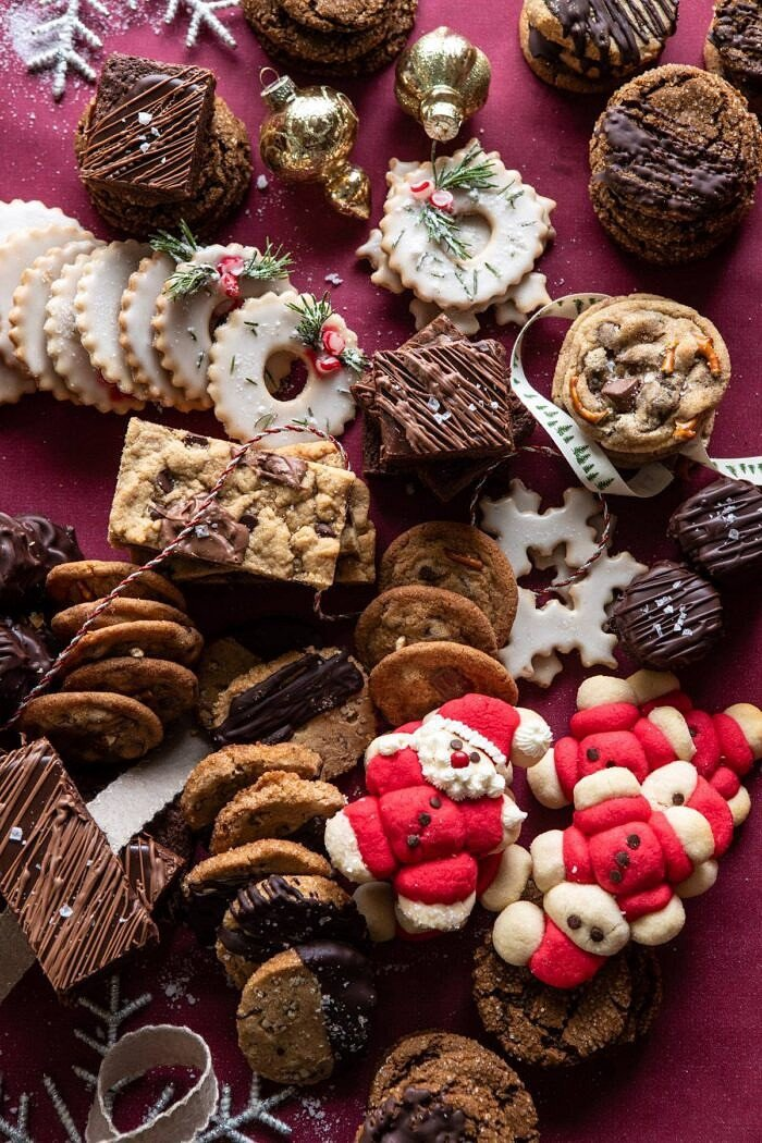 overhead photo of 2019 Holiday Cookies all together on table before adding to box