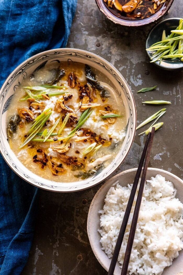 30 Minute Chinese Egg Drop Chicken Rice Soup with Garlicky Chile Oil.