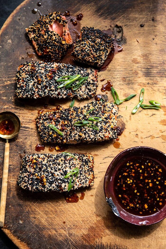 sesame-crusted salmon with honey soy dressing
