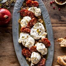 Burrata with Lemon Pepper Salami Bites.
