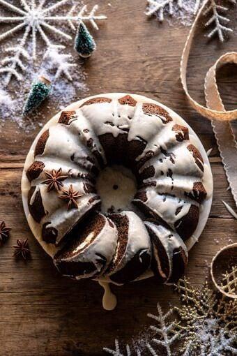 Cream Cheese Swirled Chai Gingerbread Cake | halfbakedharvest.com #gingerbread #cake #Christmas #dessert