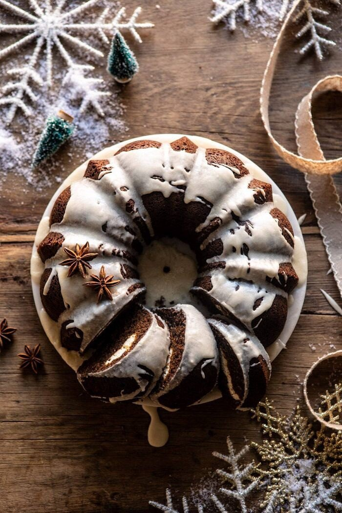 Cream Cheese Swirled Chai Gingerbread Cake.