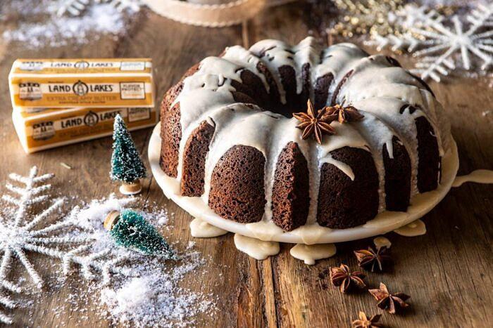 horizontal photo of Cream Cheese Swirled Chai Gingerbread Cake