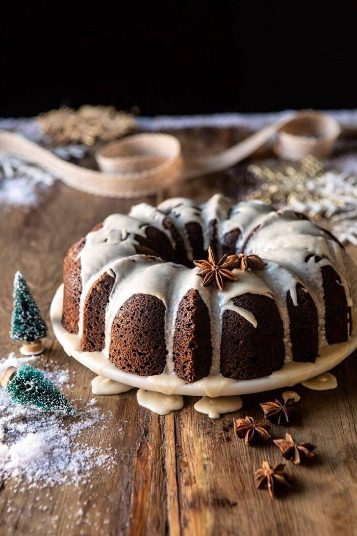 side angled photo of Cream Cheese Swirled Chai Gingerbread Cake