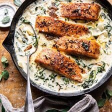 Creamy Spinach and Artichoke Salmon.