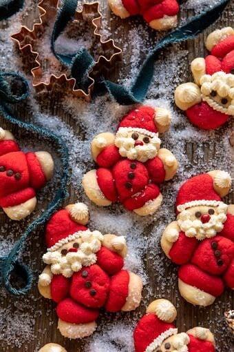 Holly Jolly Santa Cookies | halfbakedharvest.com #santacookies #sugarcookies