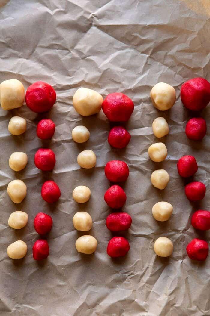 dough balls lined up before assembling