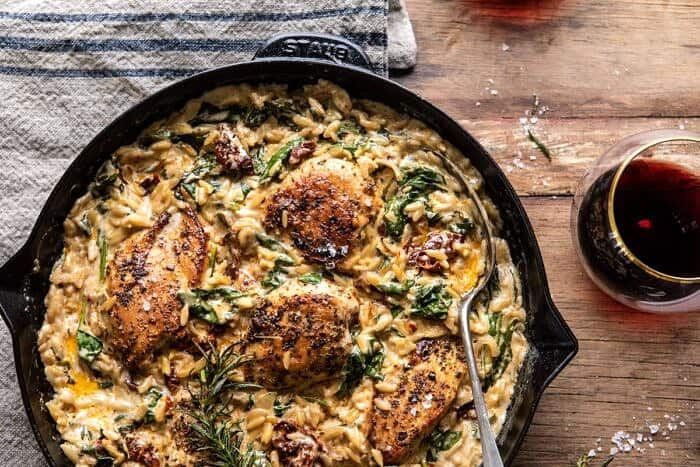 horizontal photo of One Skillet Creamy Sun-Dried Tomato Chicken and Orzo