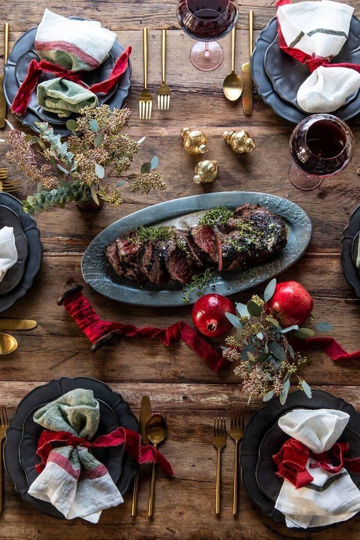overhead photo of Christmas table