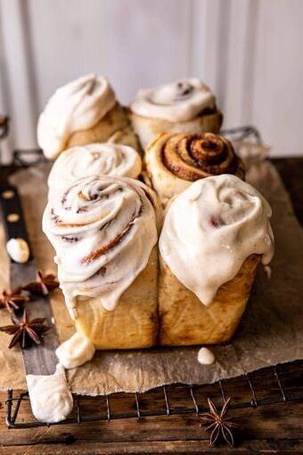 Overnight Cinnamon Roll Bread with Chai Frosting | halfbakedharvest.com #cinnamonrolls #christmas #breakfast