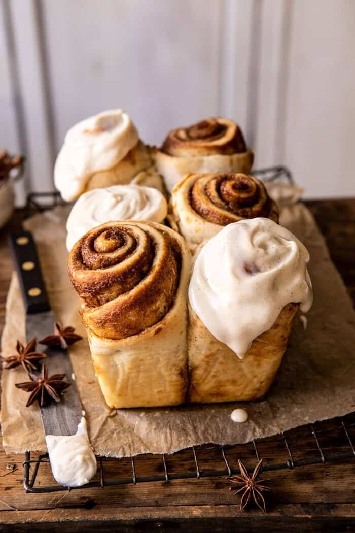 Overnight Cinnamon Roll Bread with Chai Frosting | halfbakedharvest.com #cinnamonrolls #christmas #breakfast
