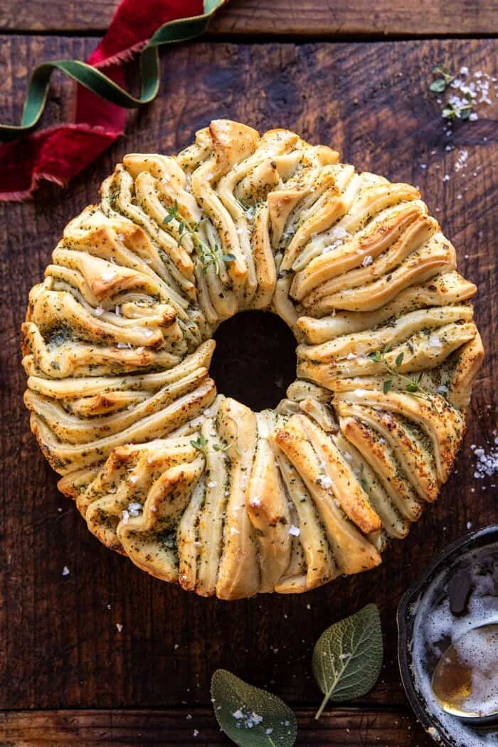 overhead close up photo of Pull-Apart Garlic Butter Bread Wreath