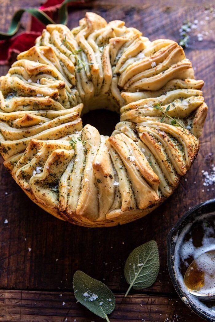 side angled close up photo of Pull-Apart Garlic Butter Bread Wreath