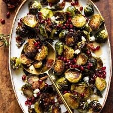Roasted Bacon Brussels Sprouts with Salted Honey.