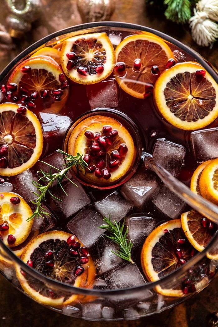 overhead photo of Sparkling Christmas Party Punch in punch bowl
