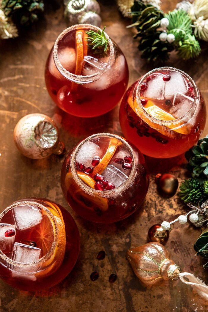 overhead photo of Sparkling Christmas Party Punch in 4 glasses