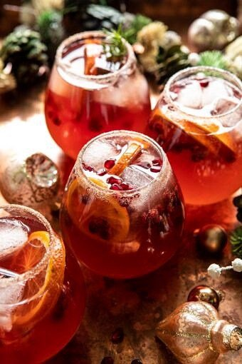 Sparkling Christmas Party Punch | halfbakedharvest.com #punch #christmasdrinks #cocktails