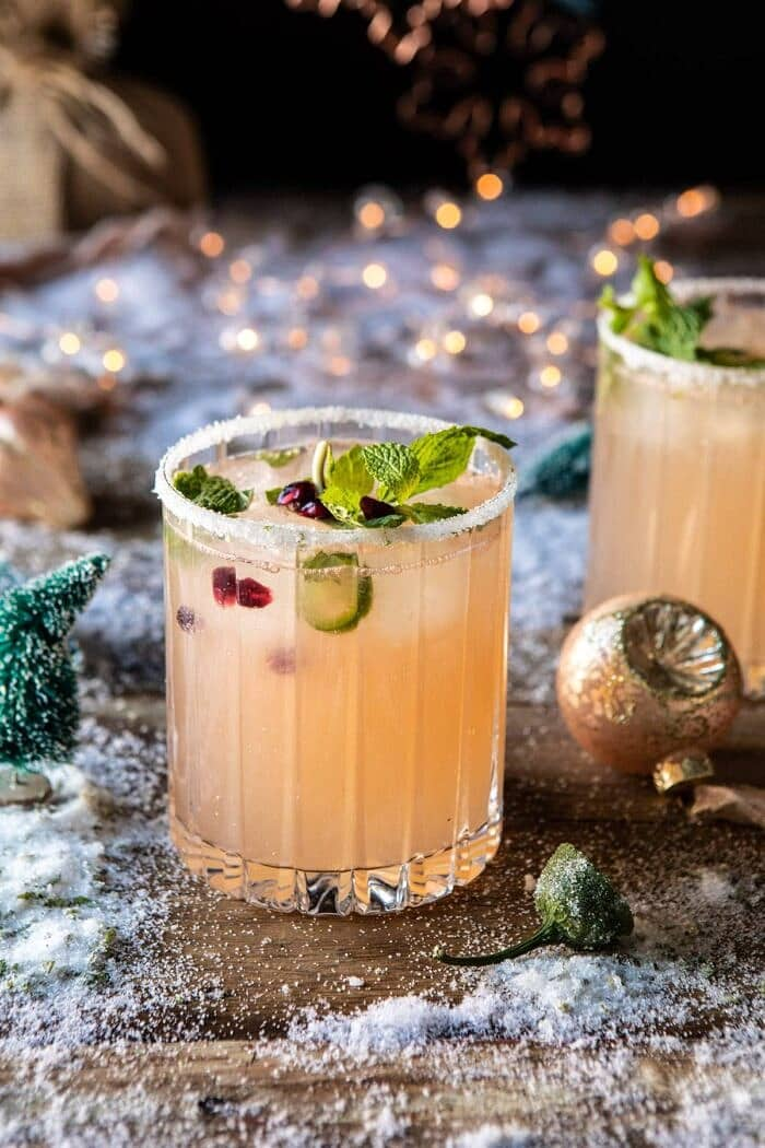 side angled photo of The Spicy Sweet Grinch Cocktail