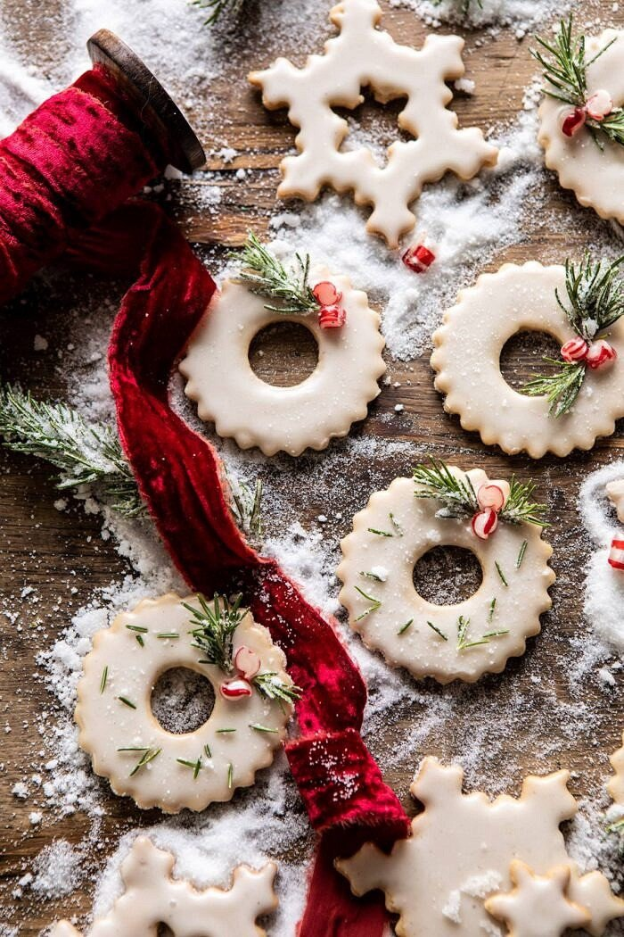 overhead photo of Vanilla Wreath Cookies