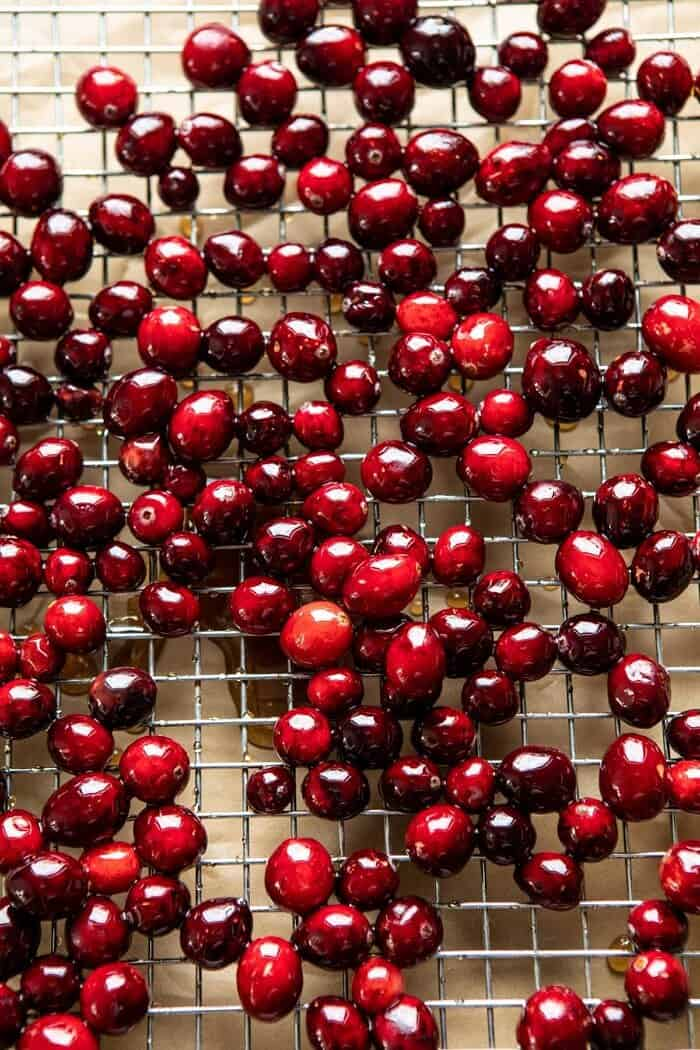 overhead photo of raw cranberries