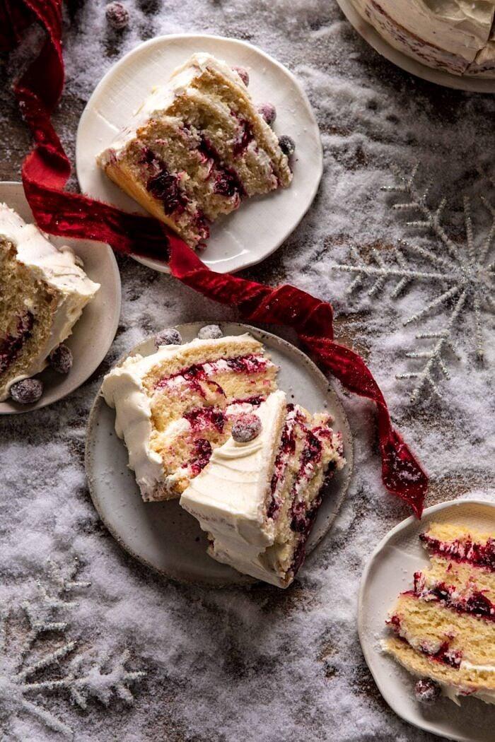 White Christmas Cranberry Layer Cake | halfbakedharvest.com #layercake #christmas