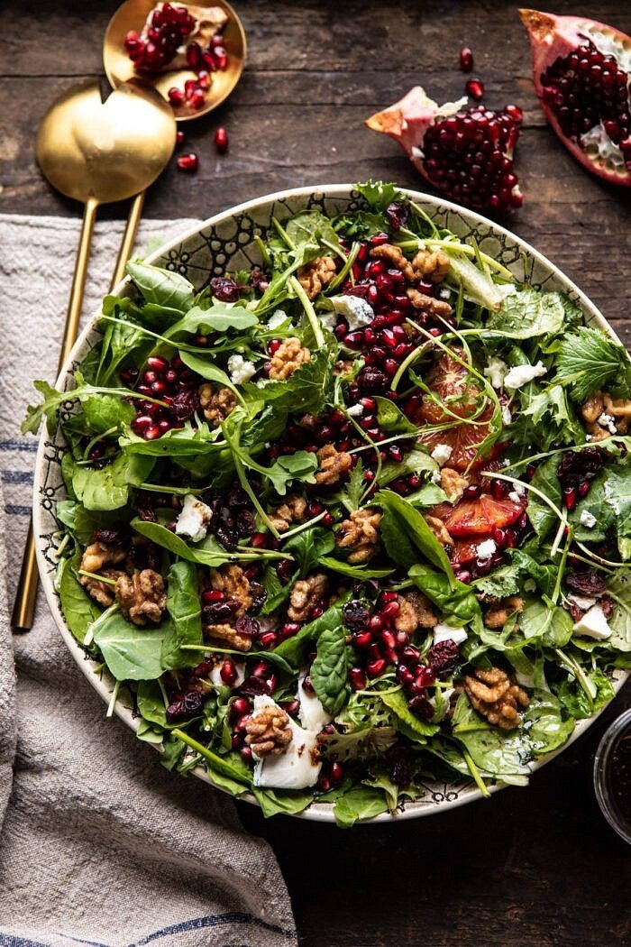 overhead photo of Winter Pomegranate Salad with Maple Candied Walnuts