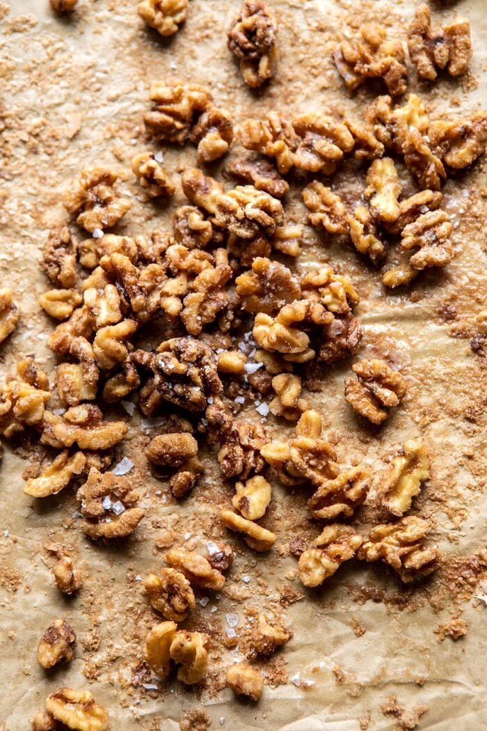 walnuts on baking sheet