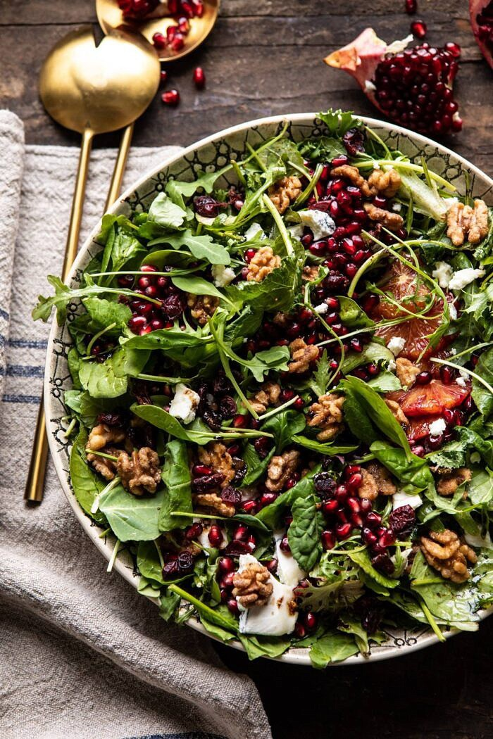 overhead close up photo of Winter Pomegranate Salad with Maple Candied Walnuts