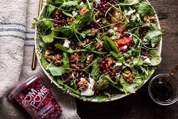 horizontal photo of Winter Pomegranate Salad with Maple Candied Walnuts