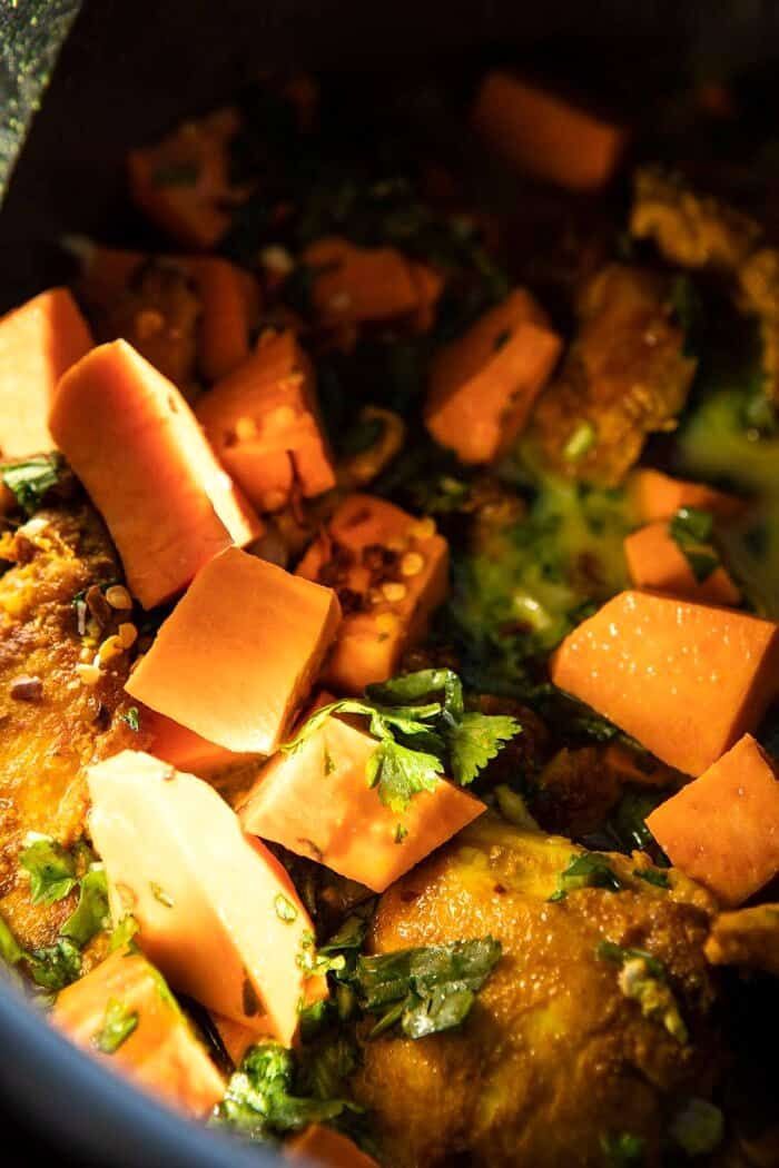 chicken, herbs and sweet potatoes in instant pot